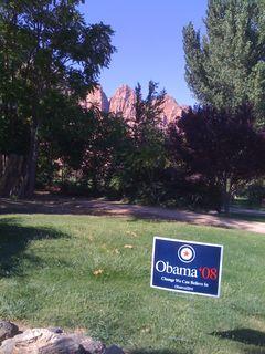 Obama sign near Zion NP