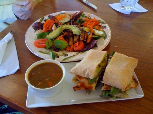salad, soup, and sandwich