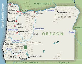 Map of Oregon, the 33rd state